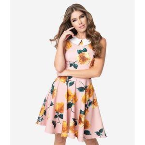 Unique Vintage Smak Parlour Pink Collared Dress